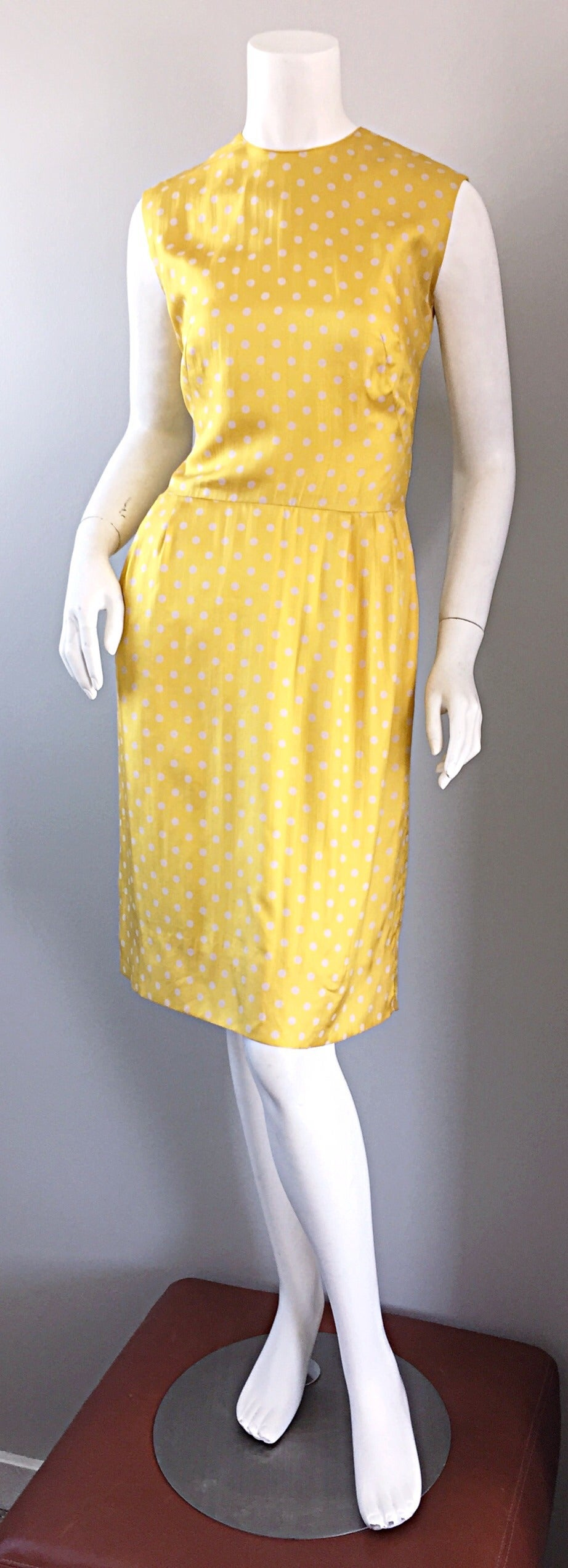 Late 1950s Addie Masters Silk 50s Day Dress W Yellow And