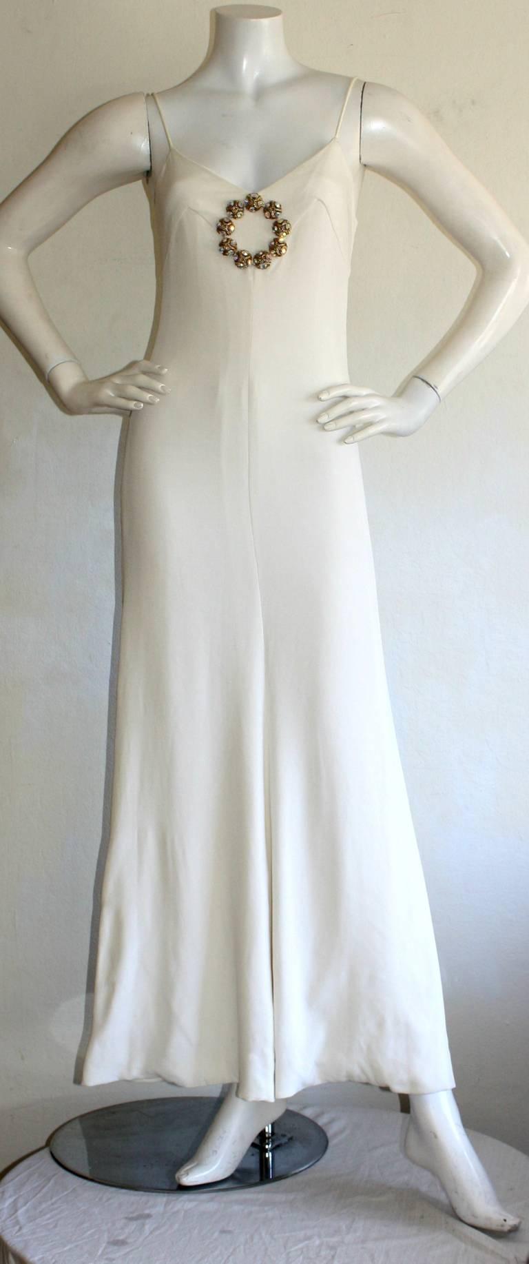 Beautiful 1970s Vintage Oscar de la Renta White Jewel Gown Perfect Wedding Dress 2