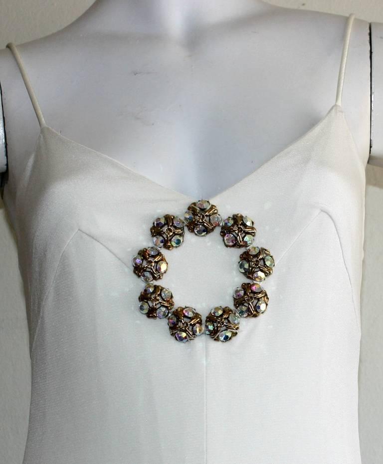 Beautiful 1970s Vintage Oscar de la Renta White Jewel Gown Perfect Wedding Dress 3