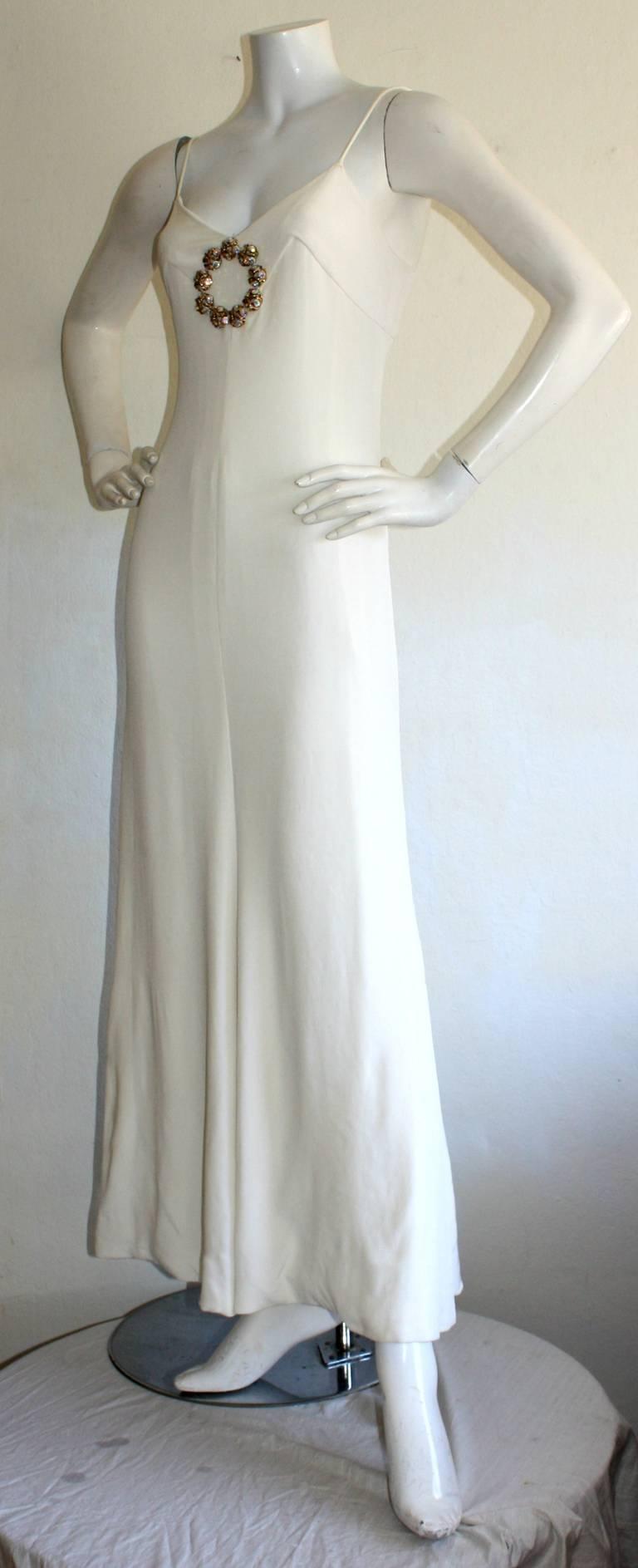 Beautiful 1970s Vintage Oscar de la Renta White Jewel Gown Perfect Wedding Dress 4