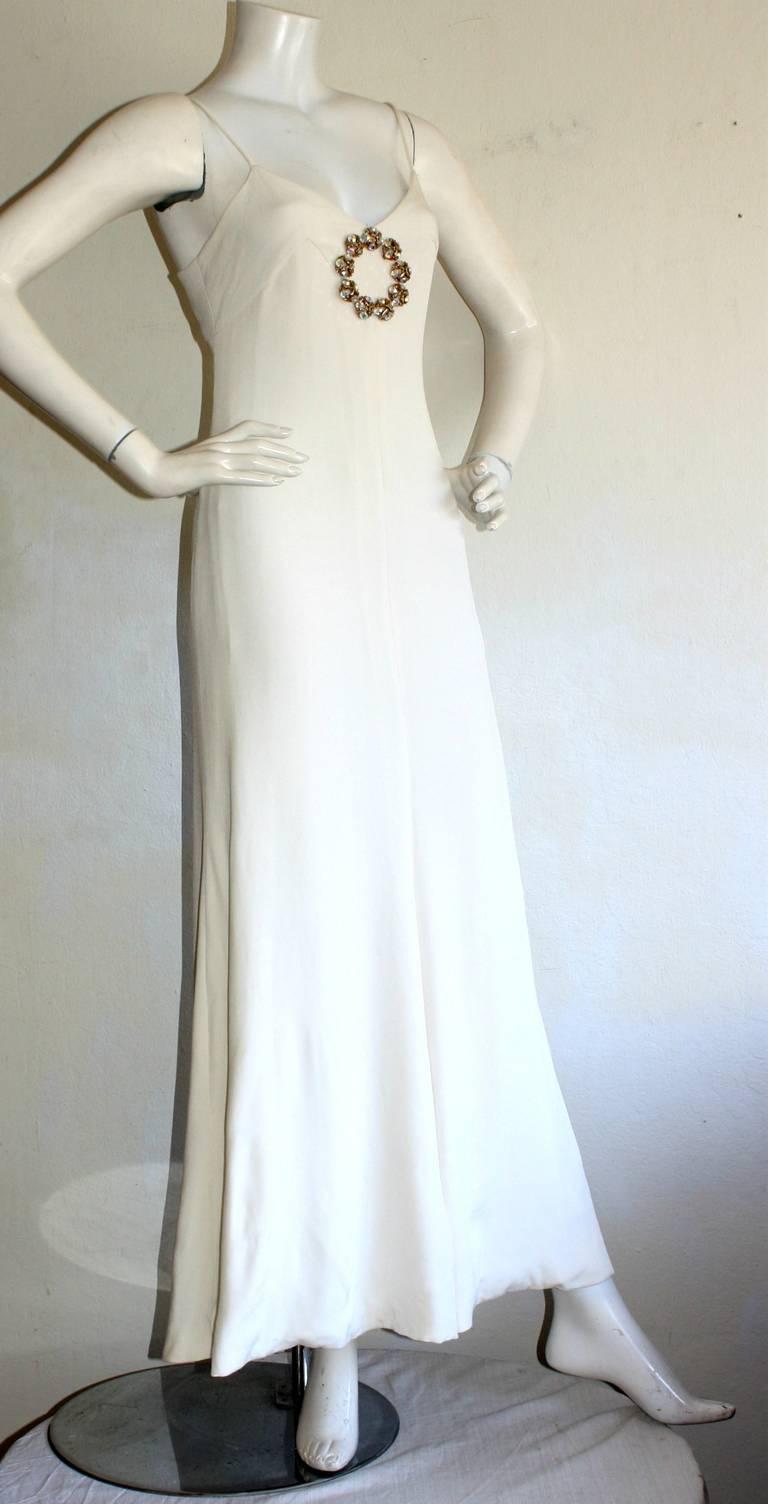Beautiful 1970s Vintage Oscar de la Renta White Jewel Gown Perfect Wedding Dress 5