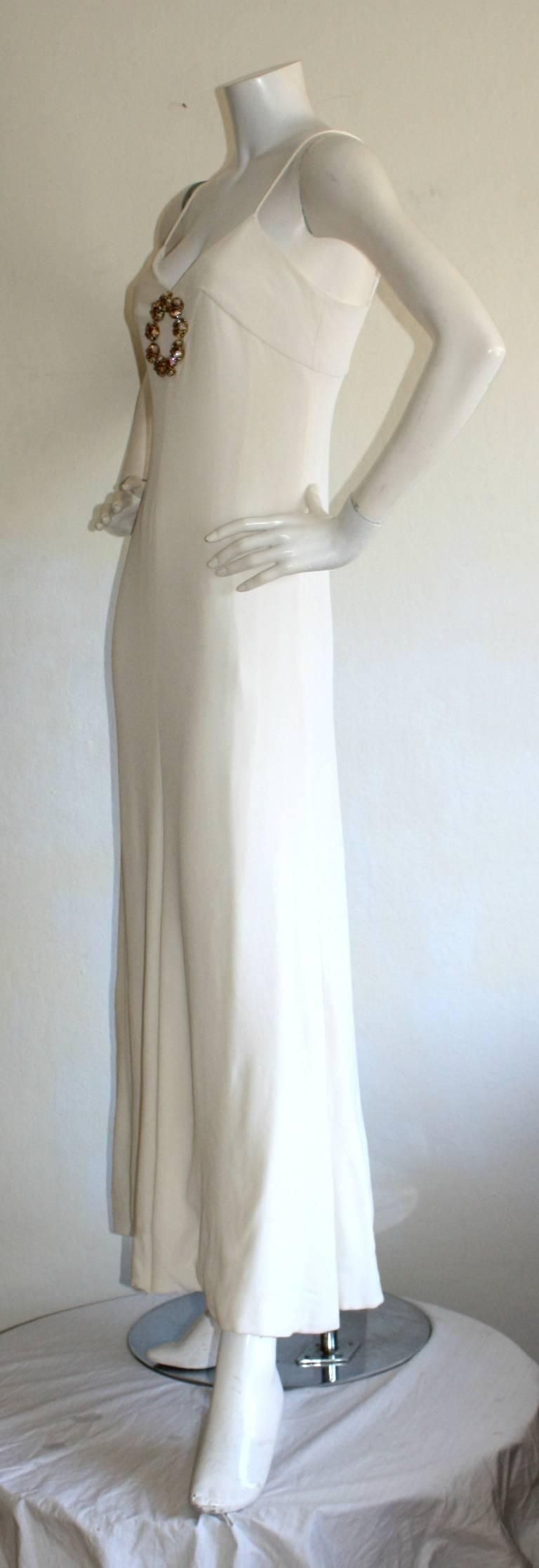 Beautiful 1970s Vintage Oscar de la Renta White Jewel Gown Perfect Wedding Dress 6