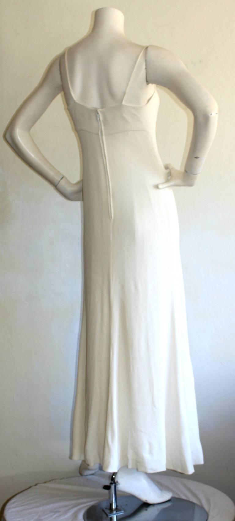 Beautiful 1970s Vintage Oscar de la Renta White Jewel Gown Perfect Wedding Dress 8