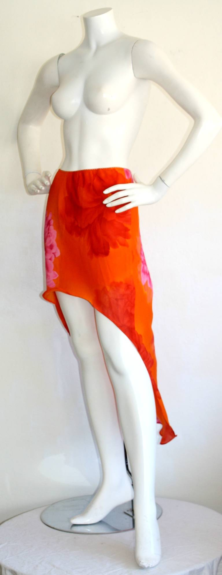 Women's Pierre Cardin Vintage 1980s Runway 80s Hi Lo Pink Orange Ombré Mermaid Skirt For Sale