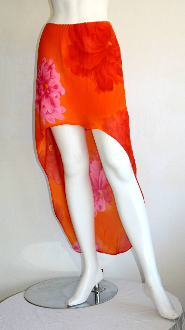 Pierre Cardin Vintage 1980s Runway 80s Hi Lo Pink Orange Ombré Mermaid Skirt In Excellent Condition For Sale In Chicago, IL