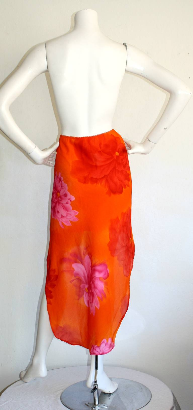 Red Pierre Cardin Vintage 1980s Runway 80s Hi Lo Pink Orange Ombré Mermaid Skirt For Sale