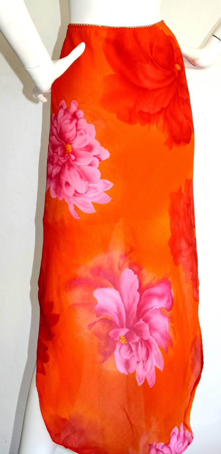 Pierre Cardin Vintage 1980s Runway 80s Hi Lo Pink Orange Ombré Mermaid Skirt For Sale 1