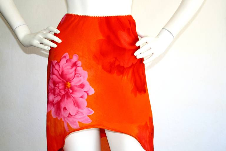 Pierre Cardin Vintage 1980s Runway 80s Hi Lo Pink Orange Ombré Mermaid Skirt For Sale 2