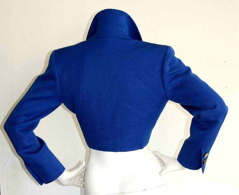 Yves Saint Laurent YSL Rive Gauche Royal Blue Cropped Blazer Bolero In Excellent Condition For Sale In San Francisco, CA
