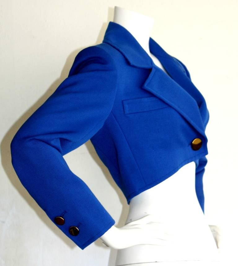 Yves Saint Laurent YSL Rive Gauche Royal Blue Cropped Blazer Bolero For Sale 1