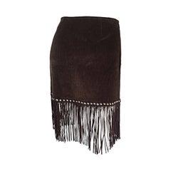 Vintage Moschino Brown Cotton Corduroy Studded 1990s 90s Fringe Mini Skirt