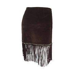 Vintage Moschino Brown Cotton Corduroy Studded 1990s 90s Fringe Mini Skirt