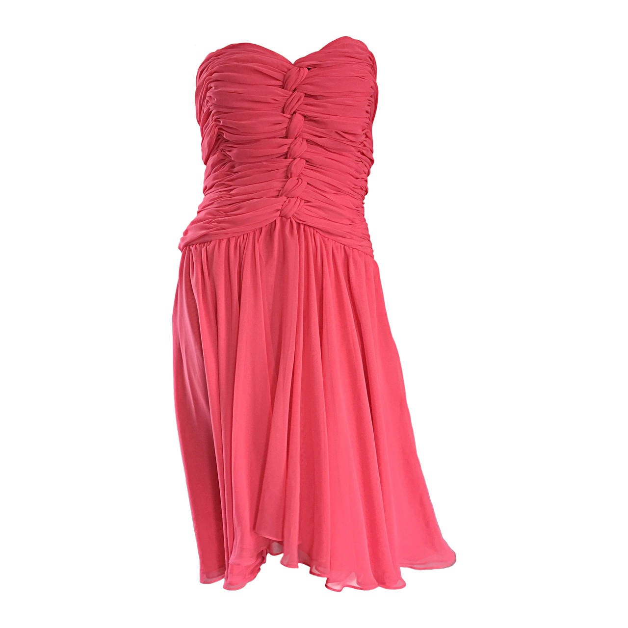 Victor Costa Coral Pink Strapless Flowy Knotted Vintage