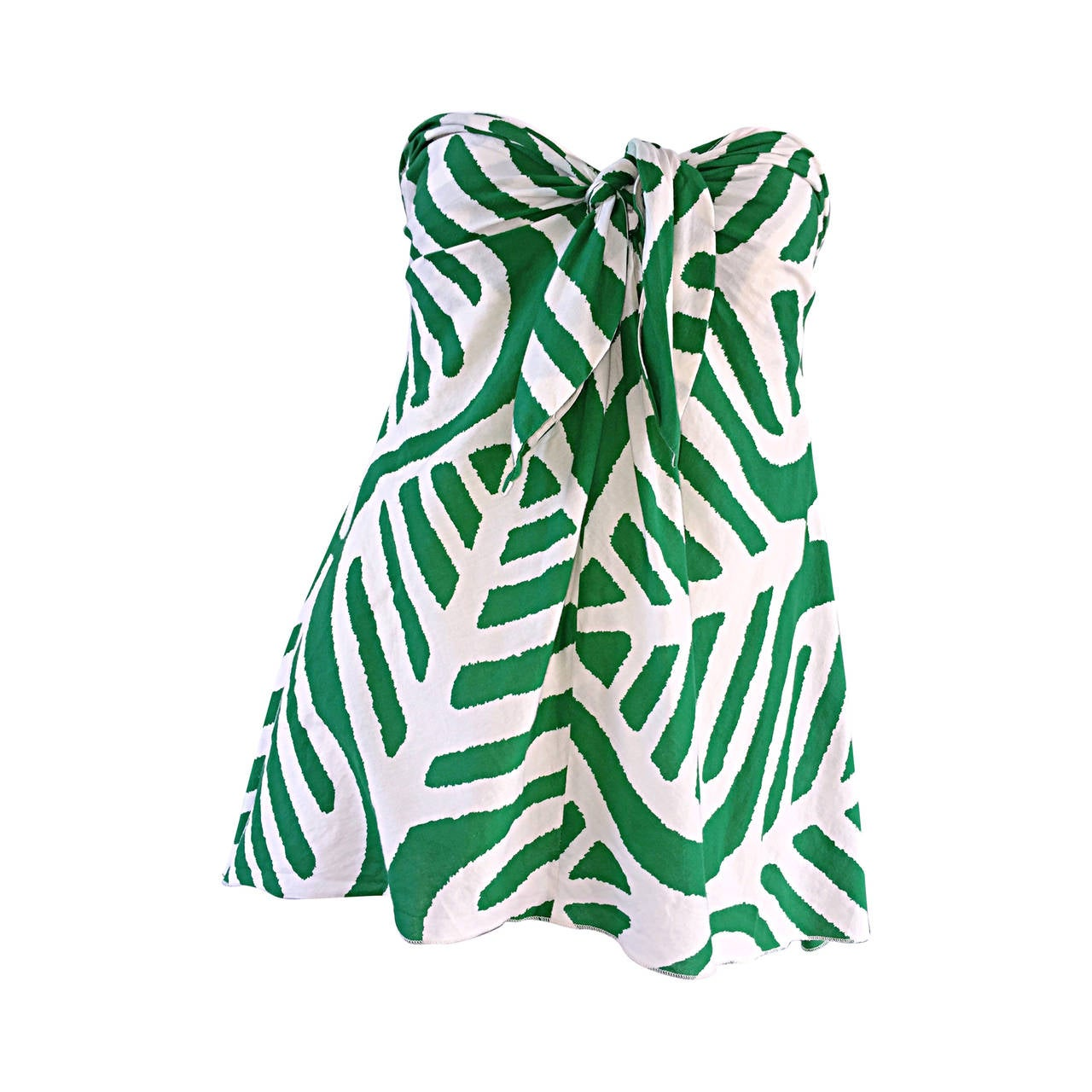 1990s Diane Von Furstenberg ' Leaf ' Print Safari Strapless Cotton Blouse