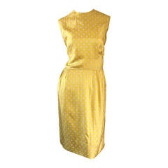 Late 1950s Addie Masters Silk 50s Day Dress w/ Yellow & White Polka Dots