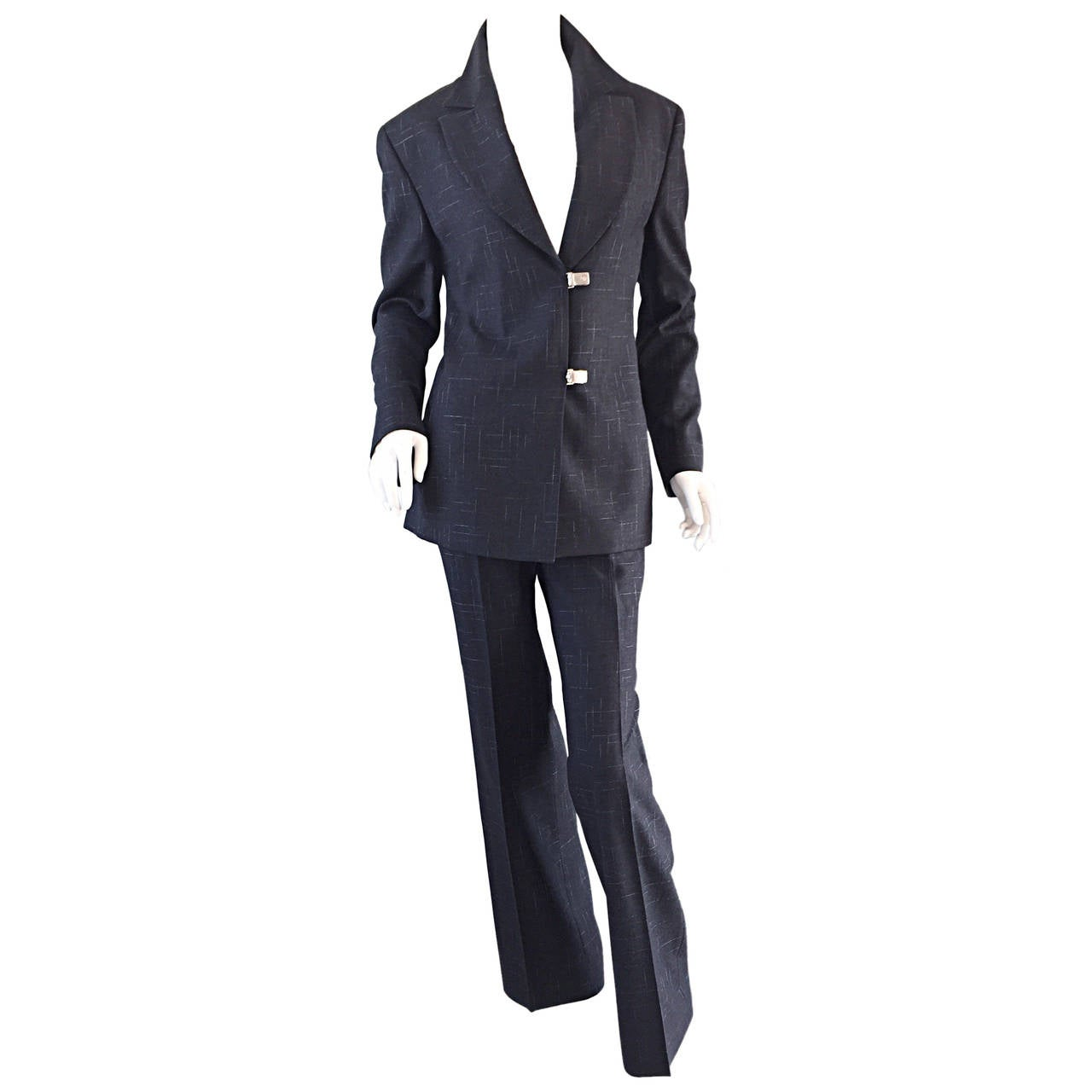 Vintage Gianni Versace Couture Charcoal Gray ' Windowpane ' Pant Suit Sz. 44