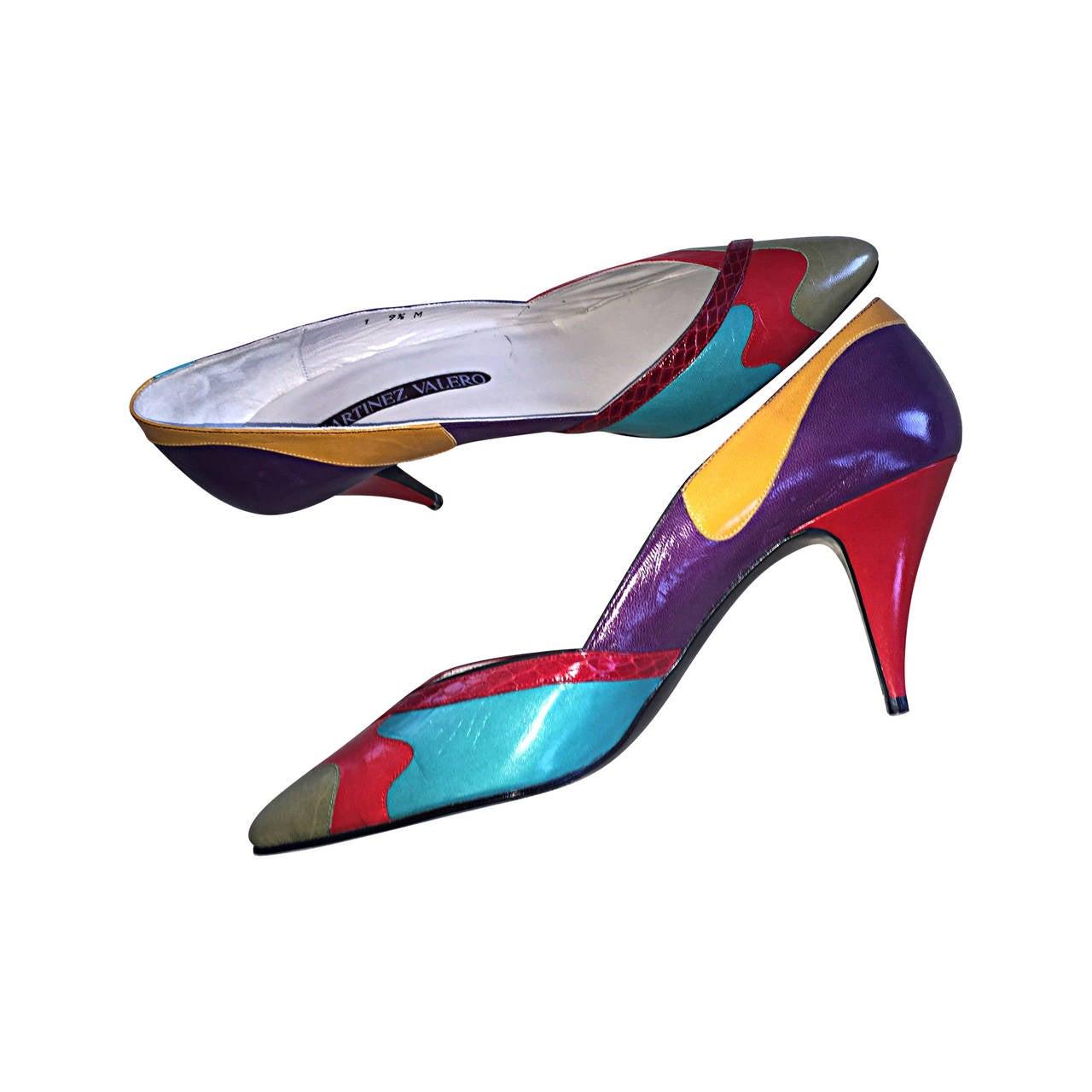 da5ea762e72be New 1980s Sz. 9.5 Color Block Leather / Snakeskin High Heels / Vintage Shoes