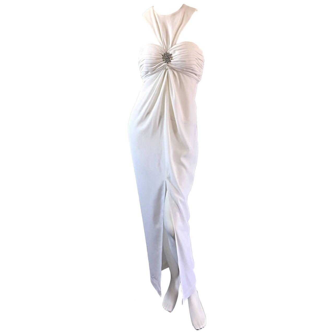 1990s Vintage Tadashi Shoji White 90s Grecian Dress w/ Rhinestones + Pearl For Sale