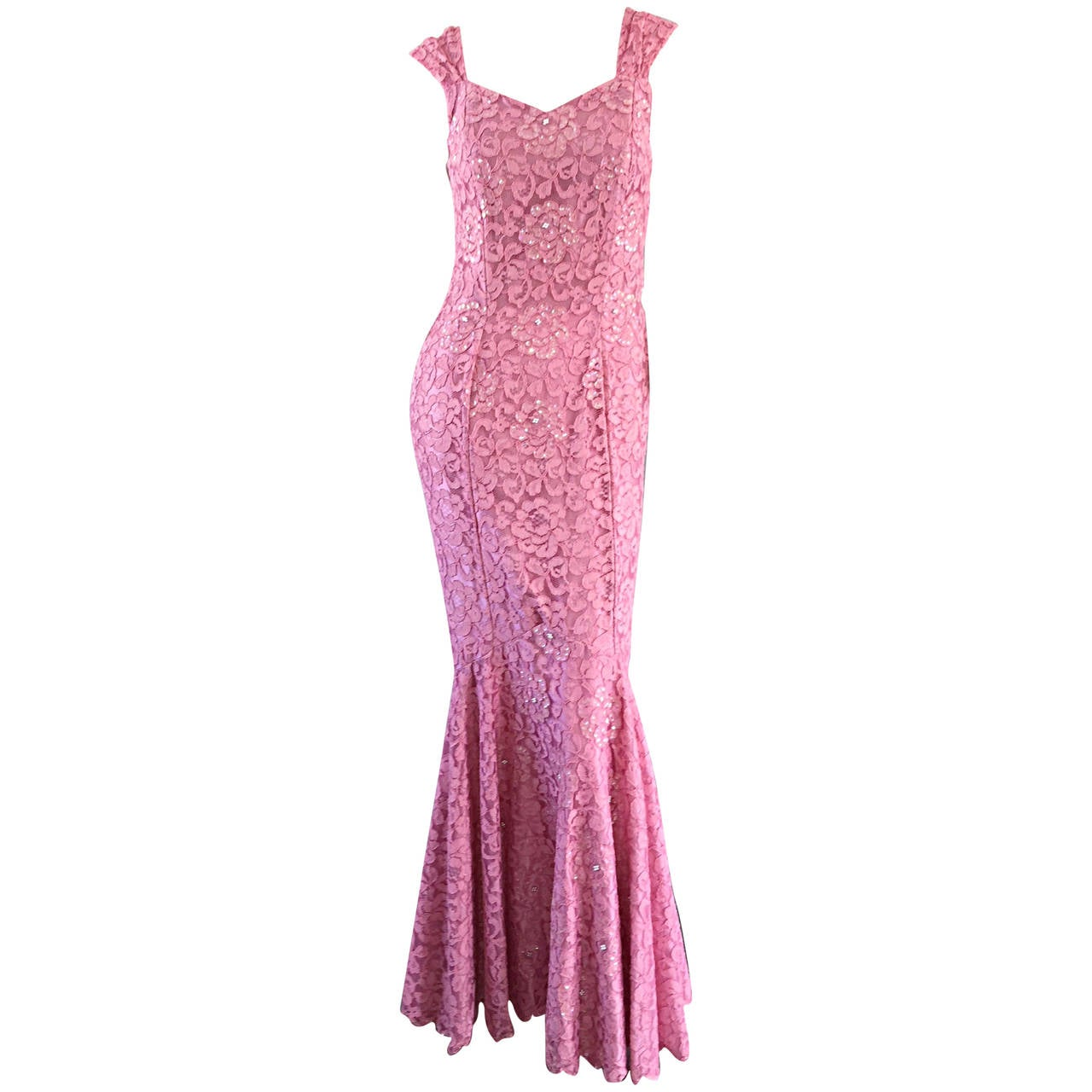 Gorgeous 1950s 50s Couture Pink Vintage Mermaid Dress w/ Chantilly Lace + Sequin 1