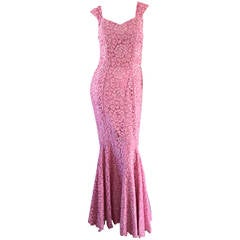 Gorgeous 1950s 50s Couture Pink Vintage Mermaid Dress w/ Chantilly Lace + Sequin