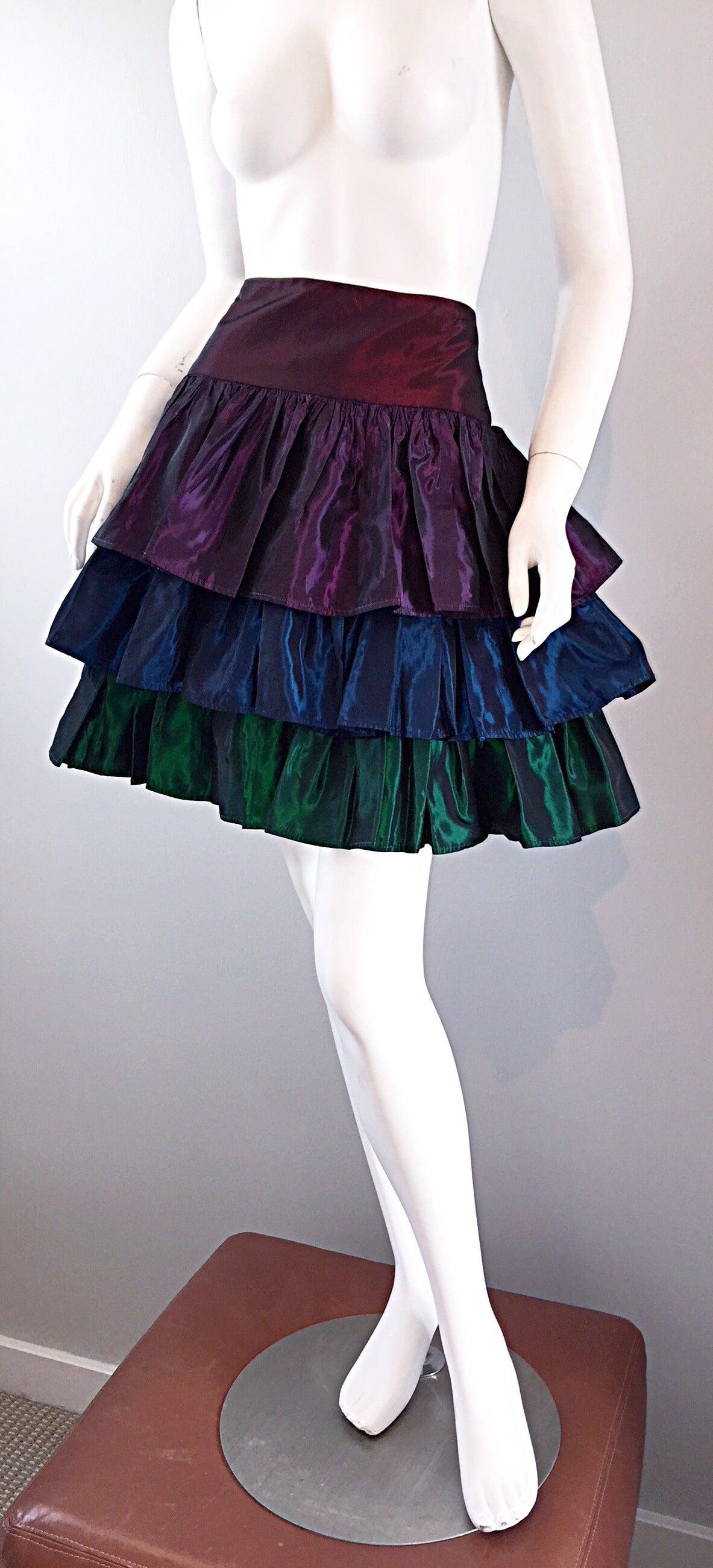 Kalinka For Bergdorf Goodman Tiered Taffeta ' Rainbow ' Vintage Skirt 2