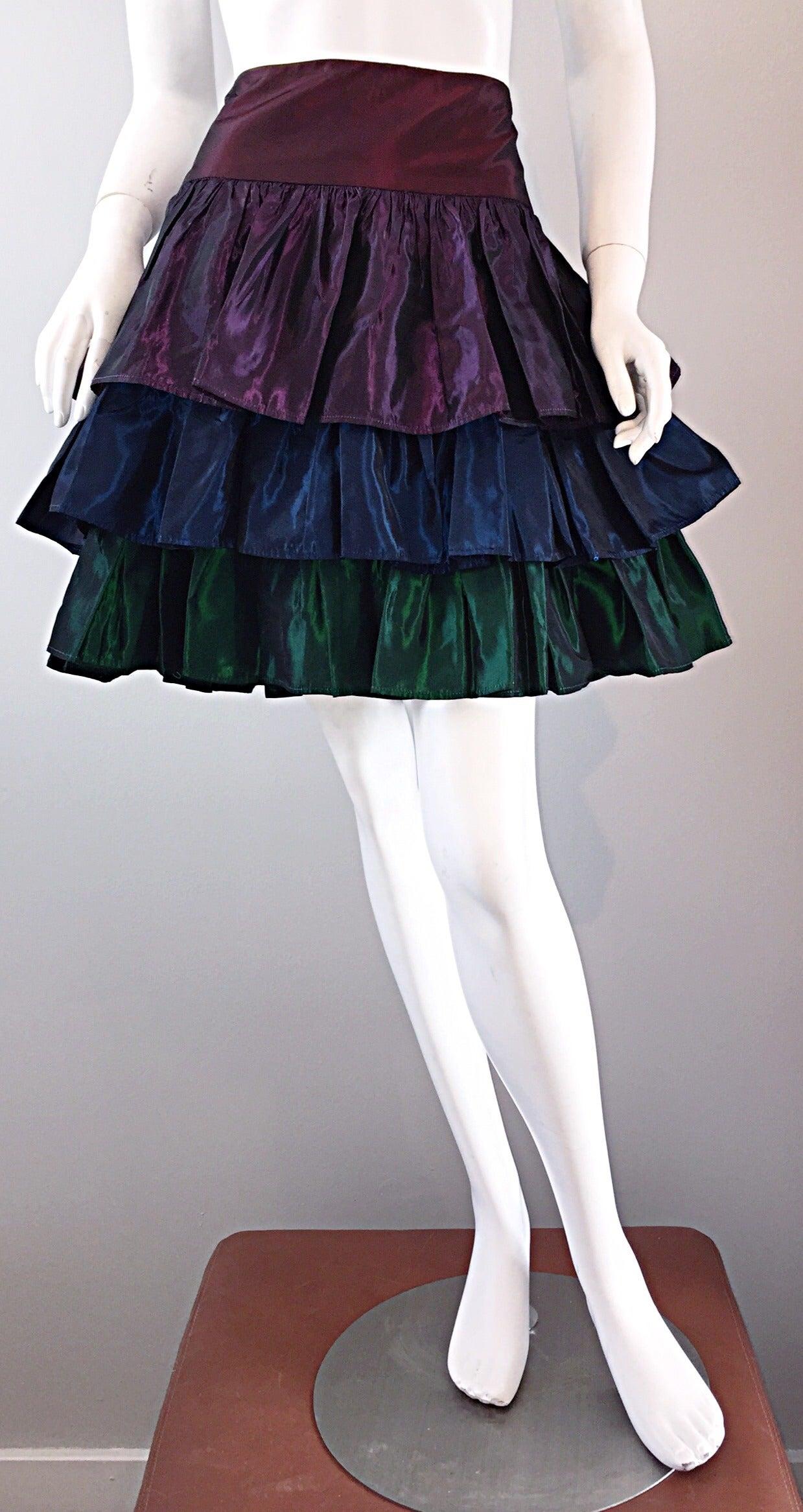 Kalinka For Bergdorf Goodman Tiered Taffeta ' Rainbow ' Vintage Skirt 3