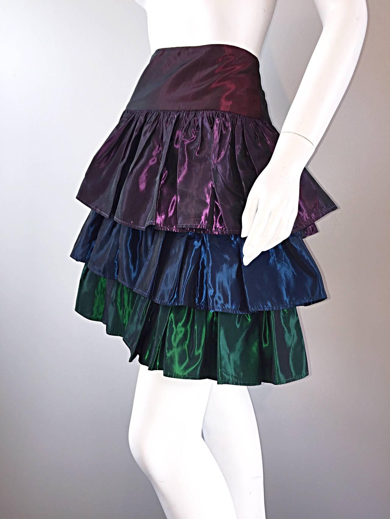 Kalinka For Bergdorf Goodman Tiered Taffeta ' Rainbow ' Vintage Skirt 4