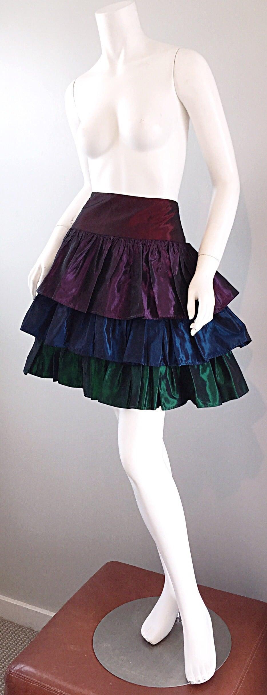 Kalinka For Bergdorf Goodman Tiered Taffeta ' Rainbow ' Vintage Skirt 6