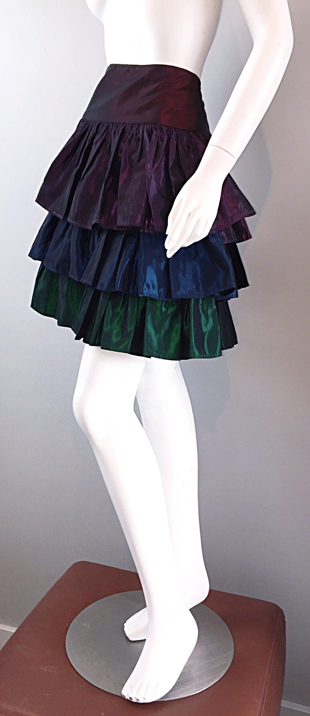 Kalinka For Bergdorf Goodman Tiered Taffeta ' Rainbow ' Vintage Skirt 7
