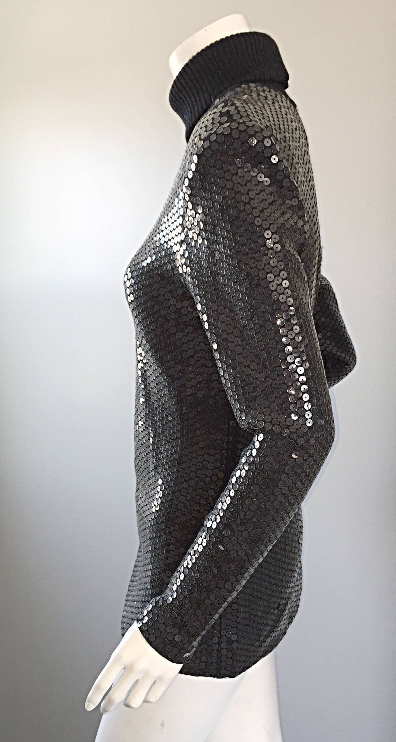 Rare Very Early Michael Kors Runway Sample Gray Sequins Turtleneck Sweater For Sale 2