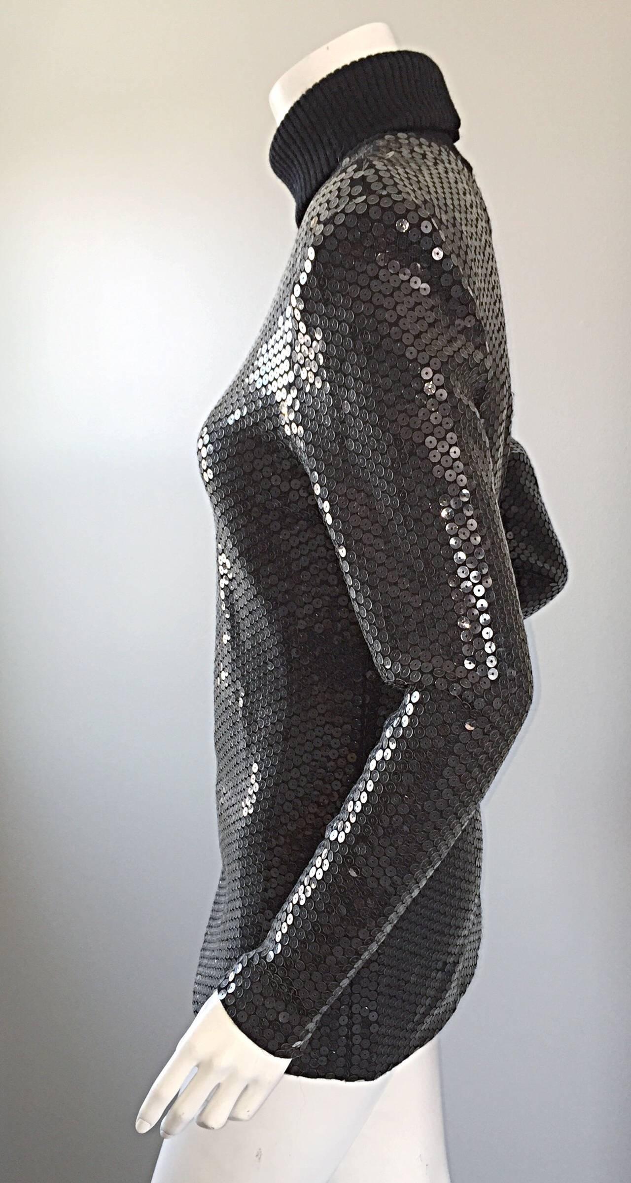 Rare Very Early Michael Kors Runway Sample Gray Sequins Turtleneck Sweater 7