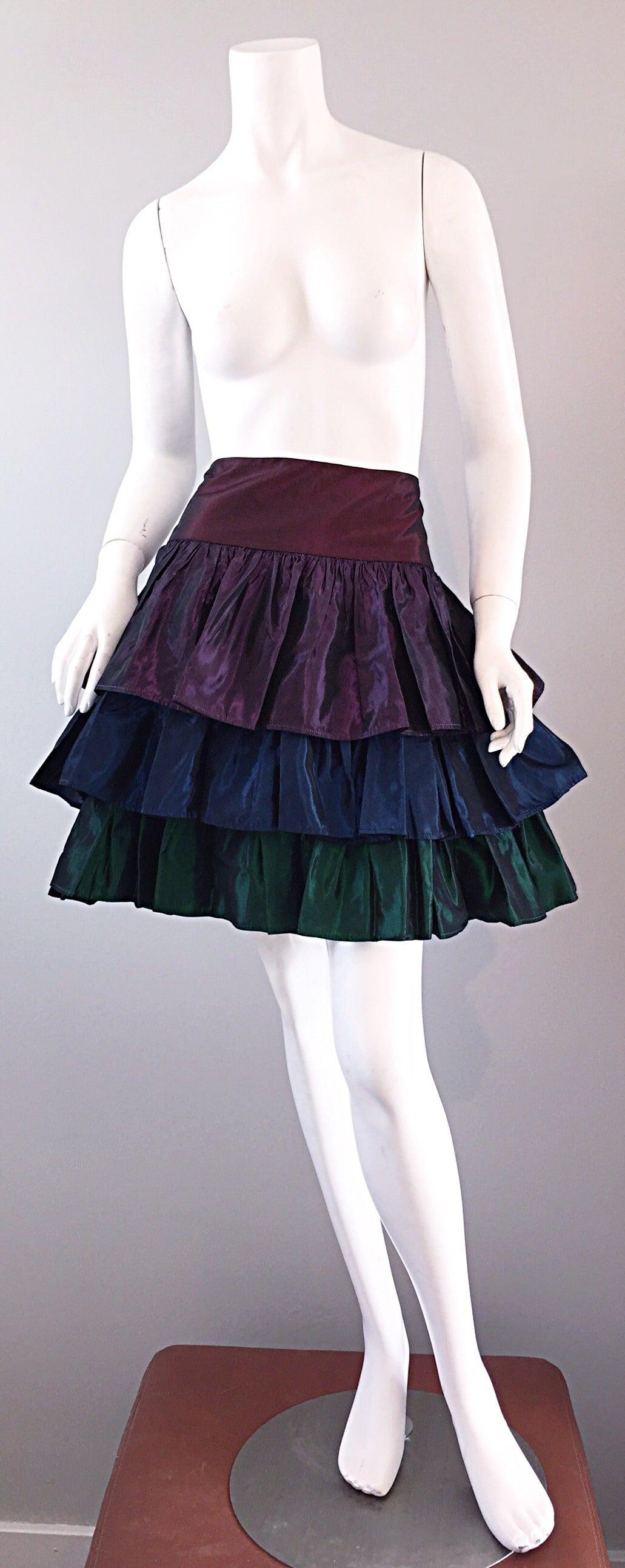 Kalinka For Bergdorf Goodman Tiered Taffeta ' Rainbow ' Vintage Skirt 9
