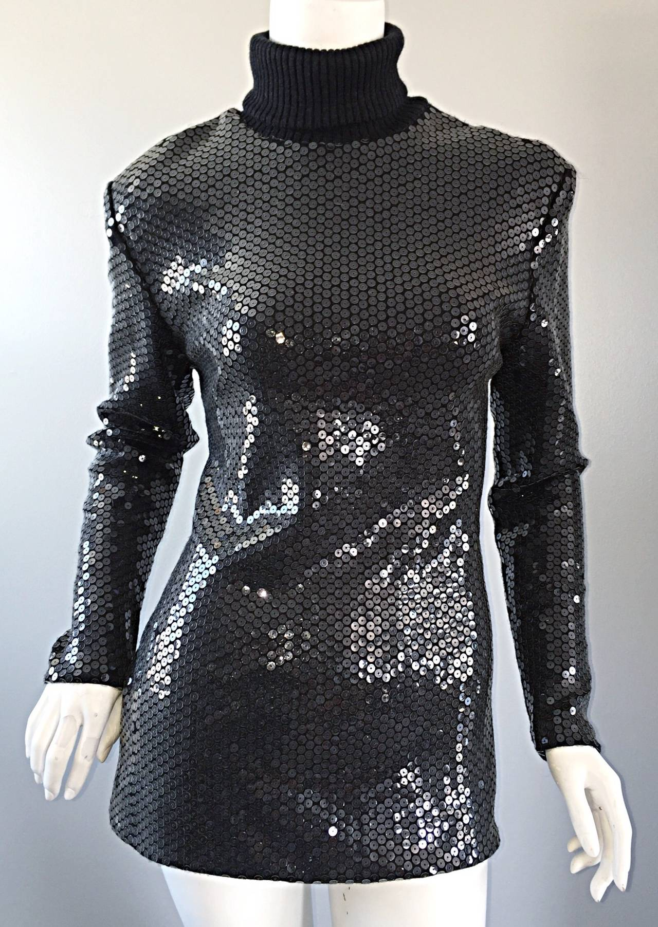 Rare Very Early Michael Kors Runway Sample Gray Sequins Turtleneck Sweater For Sale 3