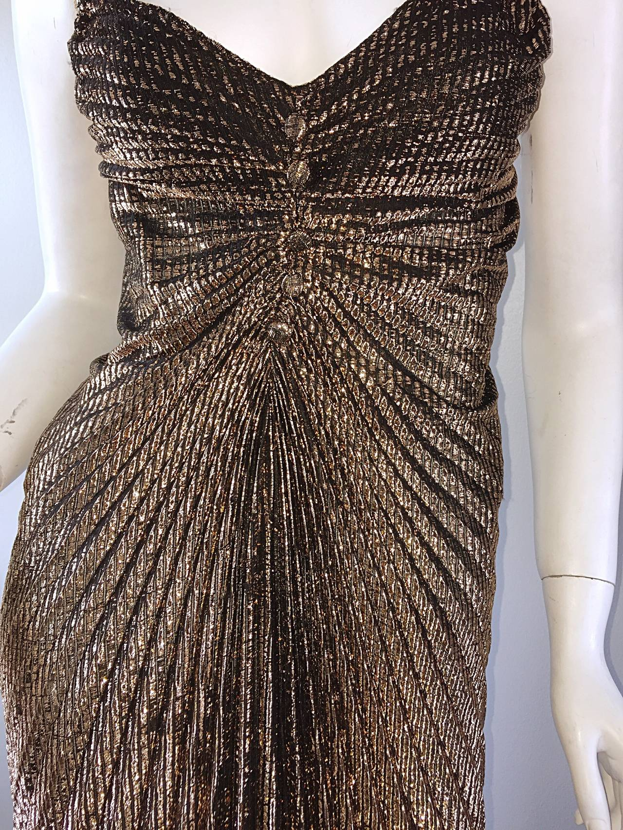 Sexy 1970s 70s Metallic Bronze Pleated Vintage Disco Dress