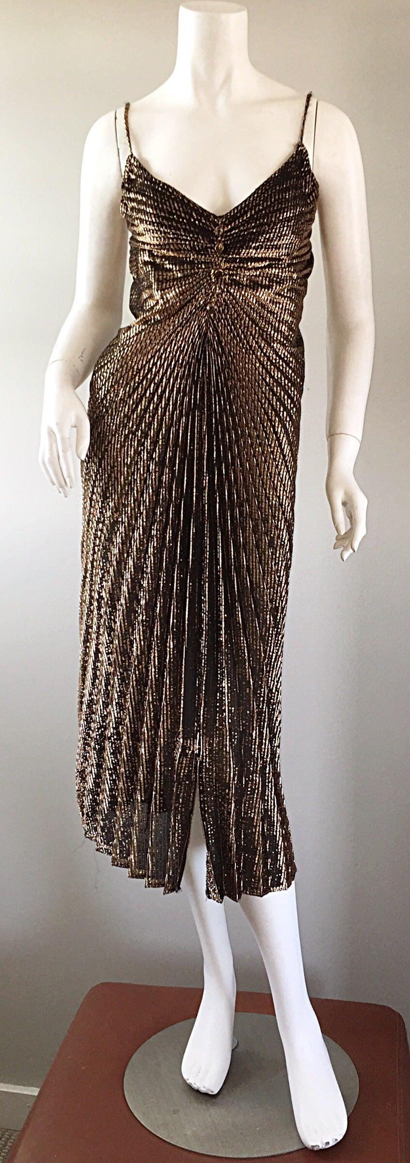 1970s 70s metallic bronze pleated vintage disco dress