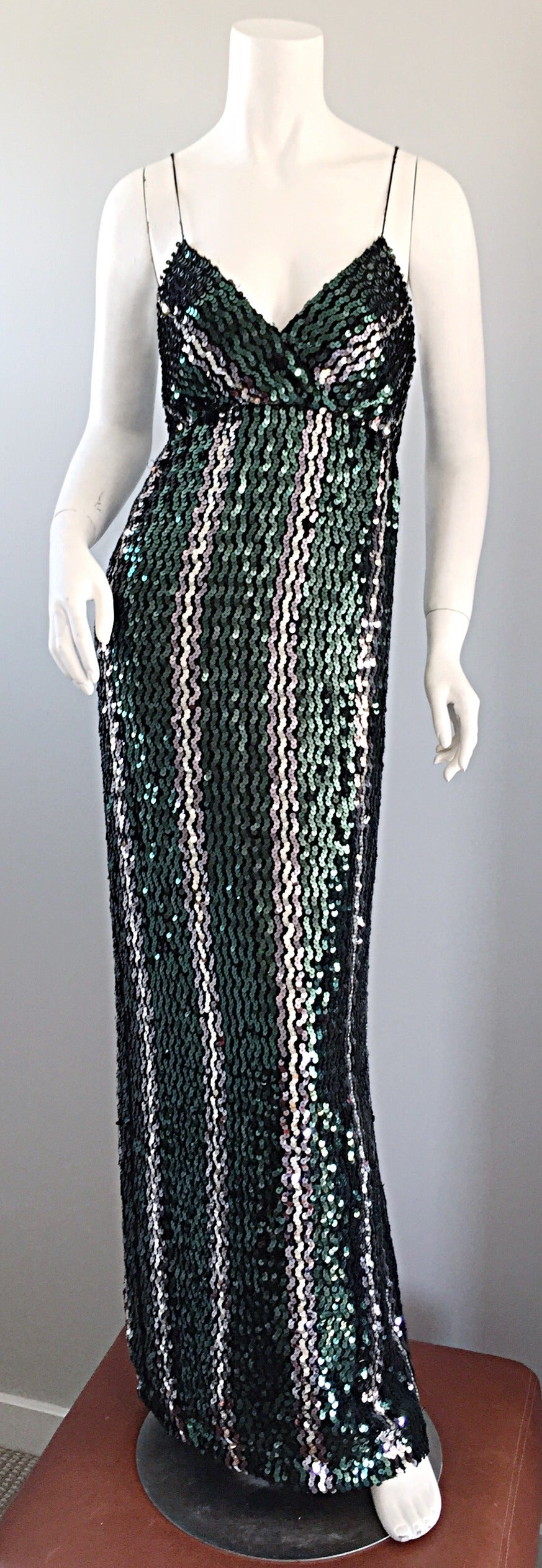 Vintage Lillie Rubin Green   Silver Sequins Sexy 1970s 70s Disco ...