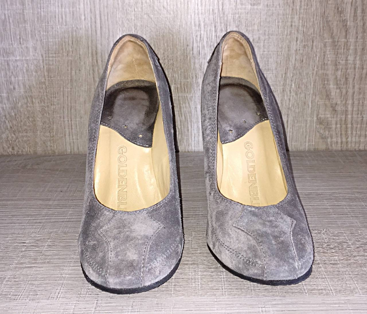 Never Worn Goldenbleu Gray Shoes / Wedges Size 36.5 / 6 - 6.5 Made in Italy For Sale 1