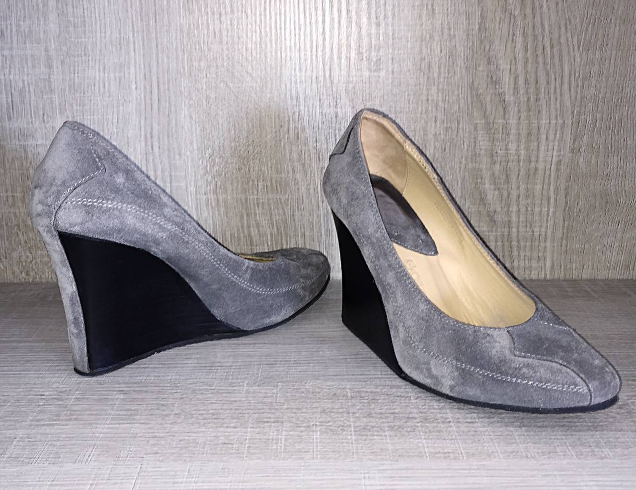 Never Worn Goldenbleu Gray Shoes / Wedges Size 36.5 / 6 - 6.5 Made in Italy For Sale 3