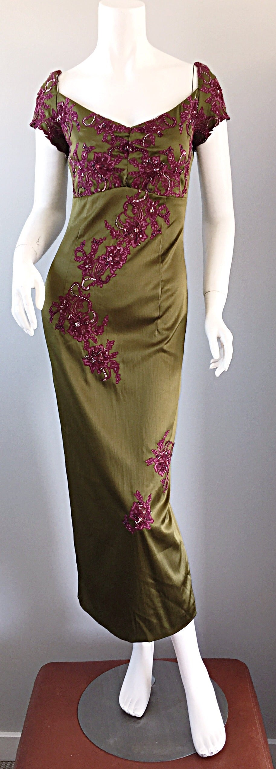 Drop dead gorgeous Mandalay dress! Rich chartreuse / olive green color, mixed with a beautiful purple merlot. Lace work and beading throughout the entire dress. Extremely well made--retailed for over $2,300! Elastic at sleeves, so can fit a variety