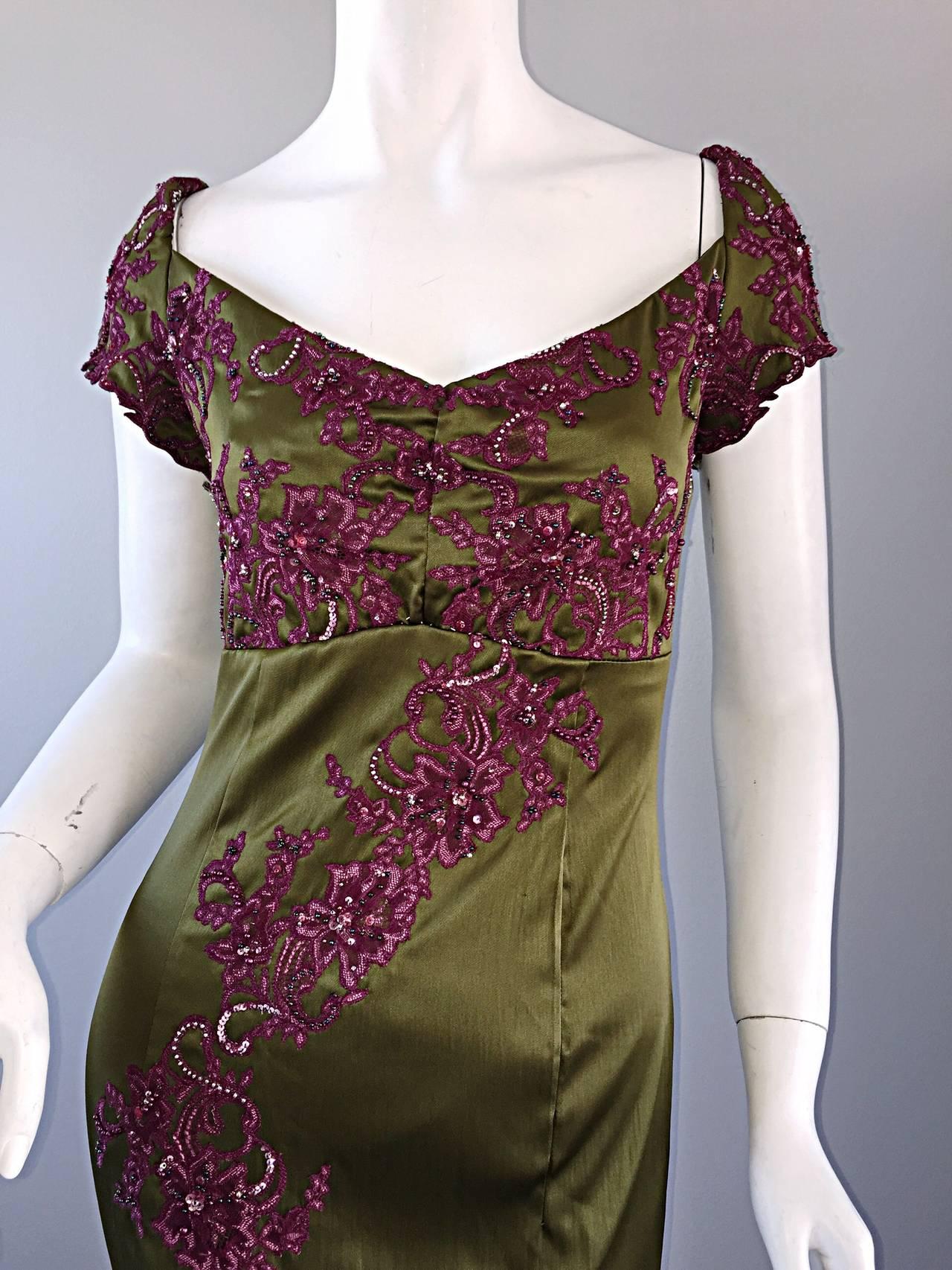Brown Beautiful Mandalay Chartreuse Merlot Sz 6 Silk Bombshell Dress w/ Beading & Lace For Sale