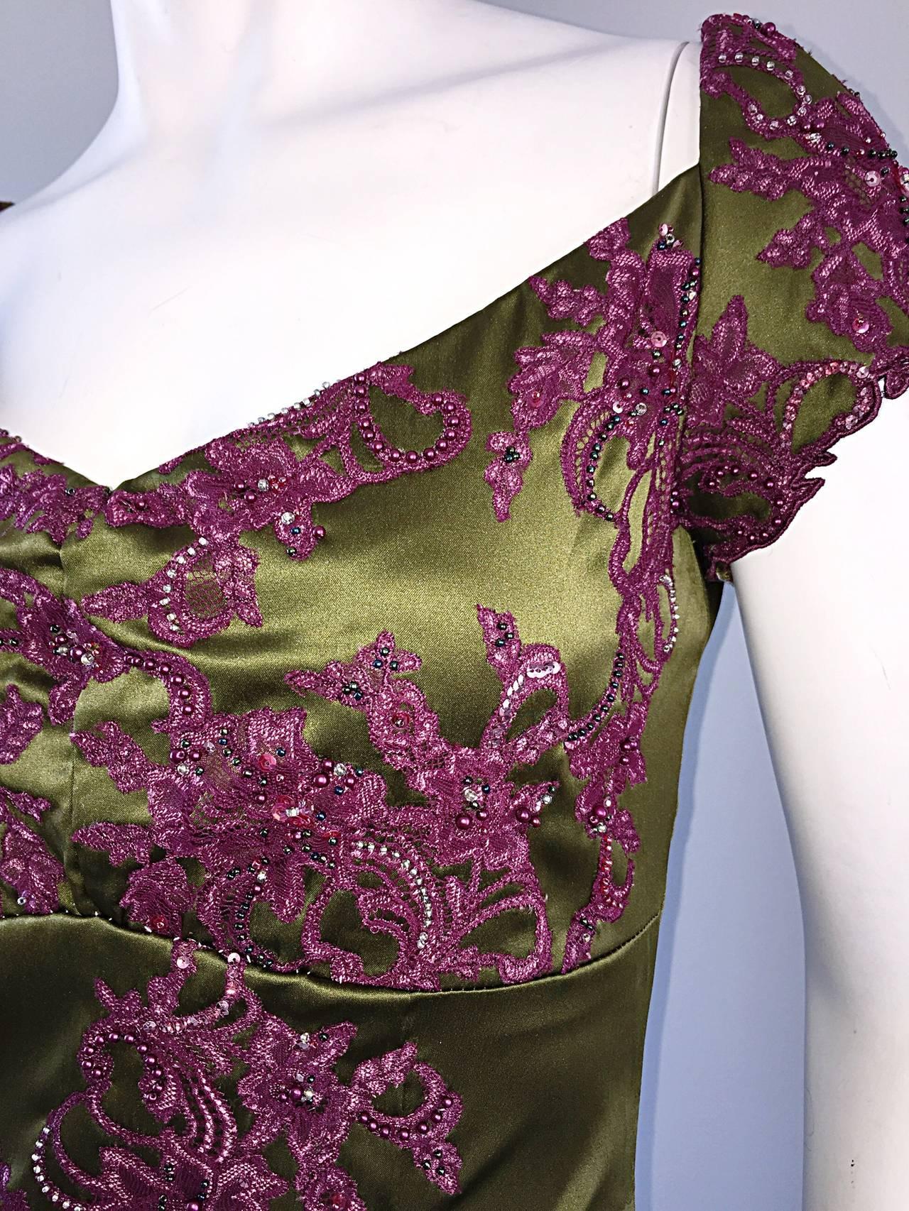 Beautiful Mandalay Chartreuse Merlot Sz 6 Silk Bombshell Dress w/ Beading & Lace For Sale 1