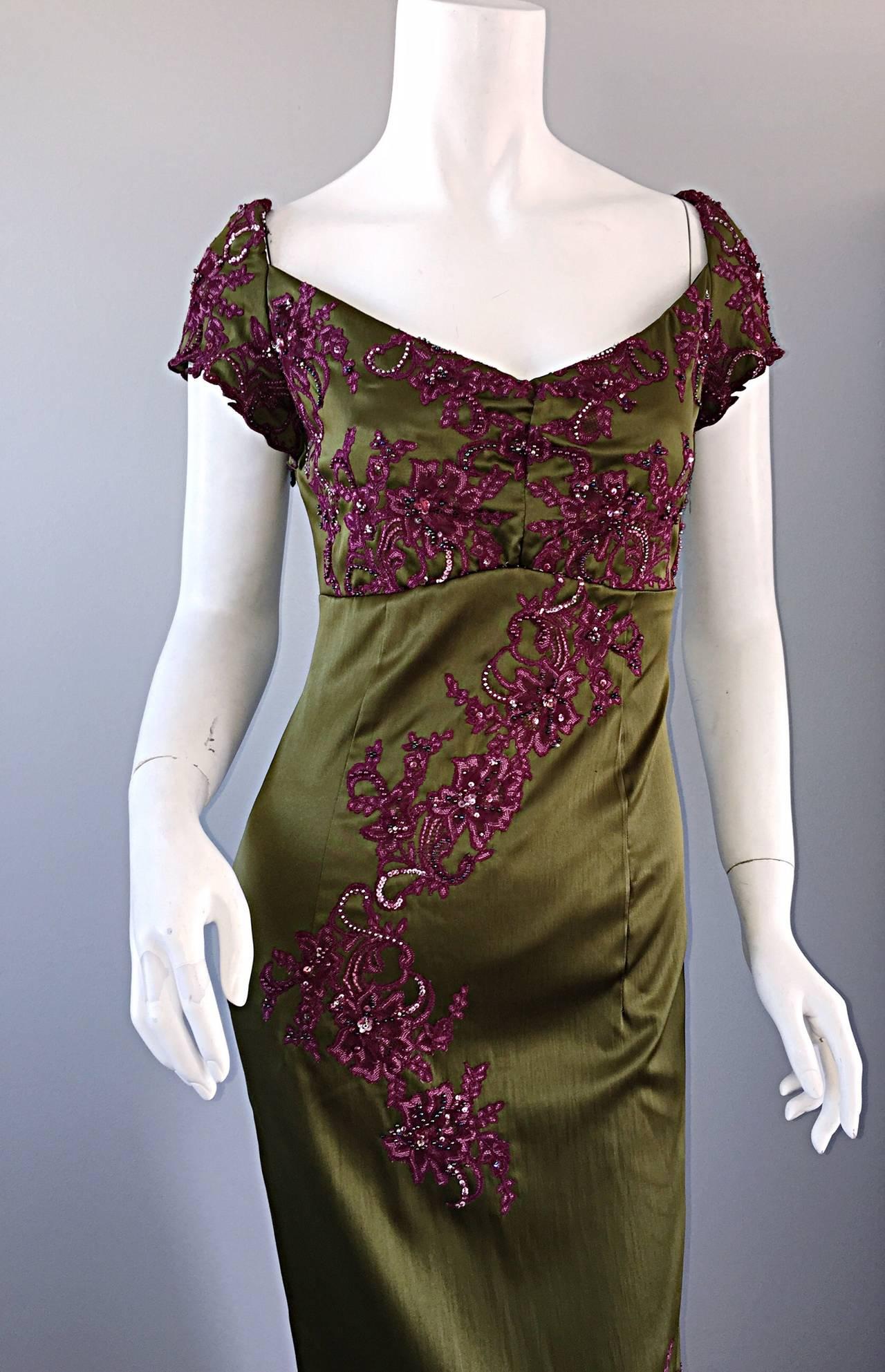 Beautiful Mandalay Chartreuse Merlot Sz 6 Silk Bombshell Dress w/ Beading & Lace For Sale 2
