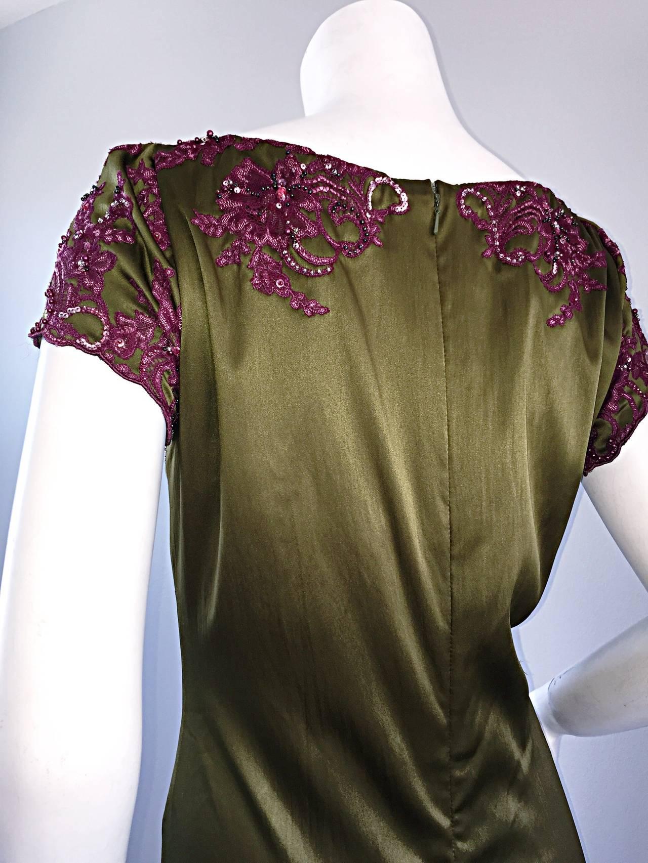 Beautiful Mandalay Chartreuse Merlot Sz 6 Silk Bombshell Dress w/ Beading & Lace For Sale 3