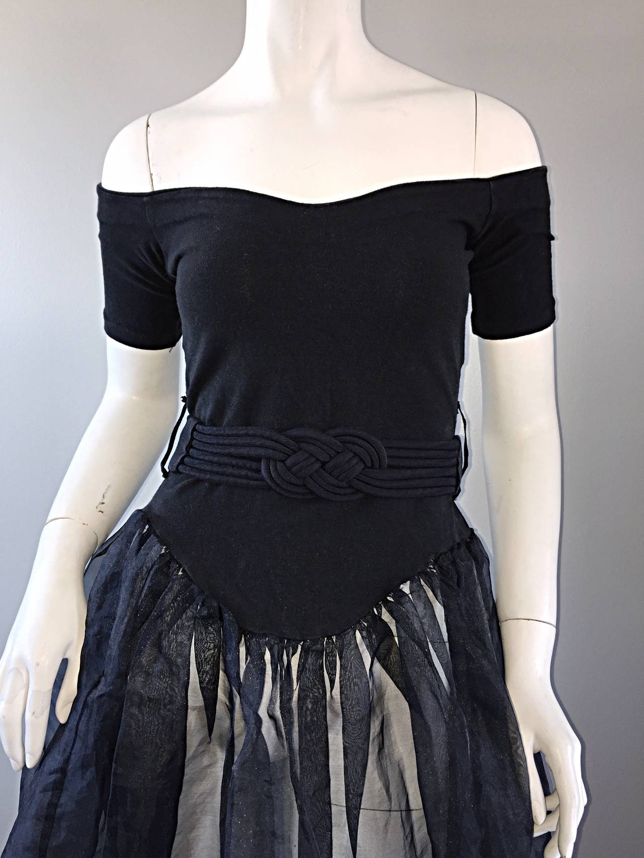 Rare Early Vintage Betsey Johnson Punk Label Black ' Ballerina ' Dress + Belt 4