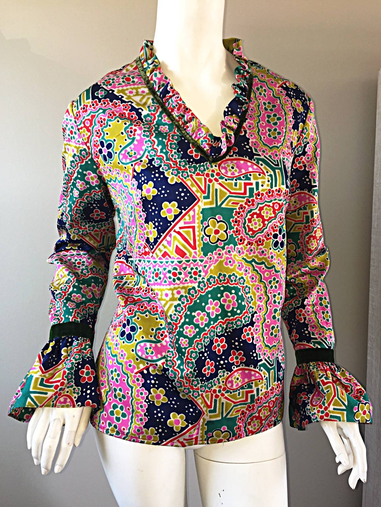 Psychedelic 1970s 70s Paisley + Floral Multi - Color Boho Top / Blouse / Tunic For Sale 1