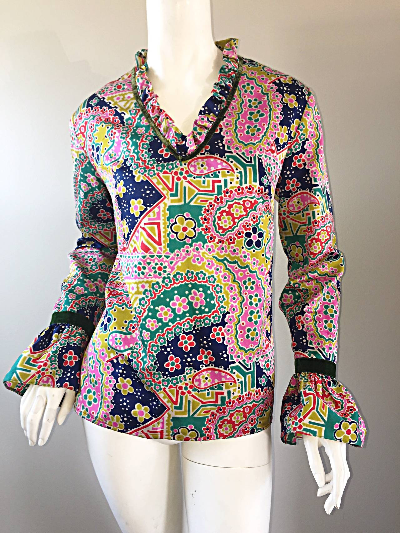 Psychedelic 1970s 70s Paisley + Floral Multi - Color Boho Top / Blouse / Tunic For Sale 2