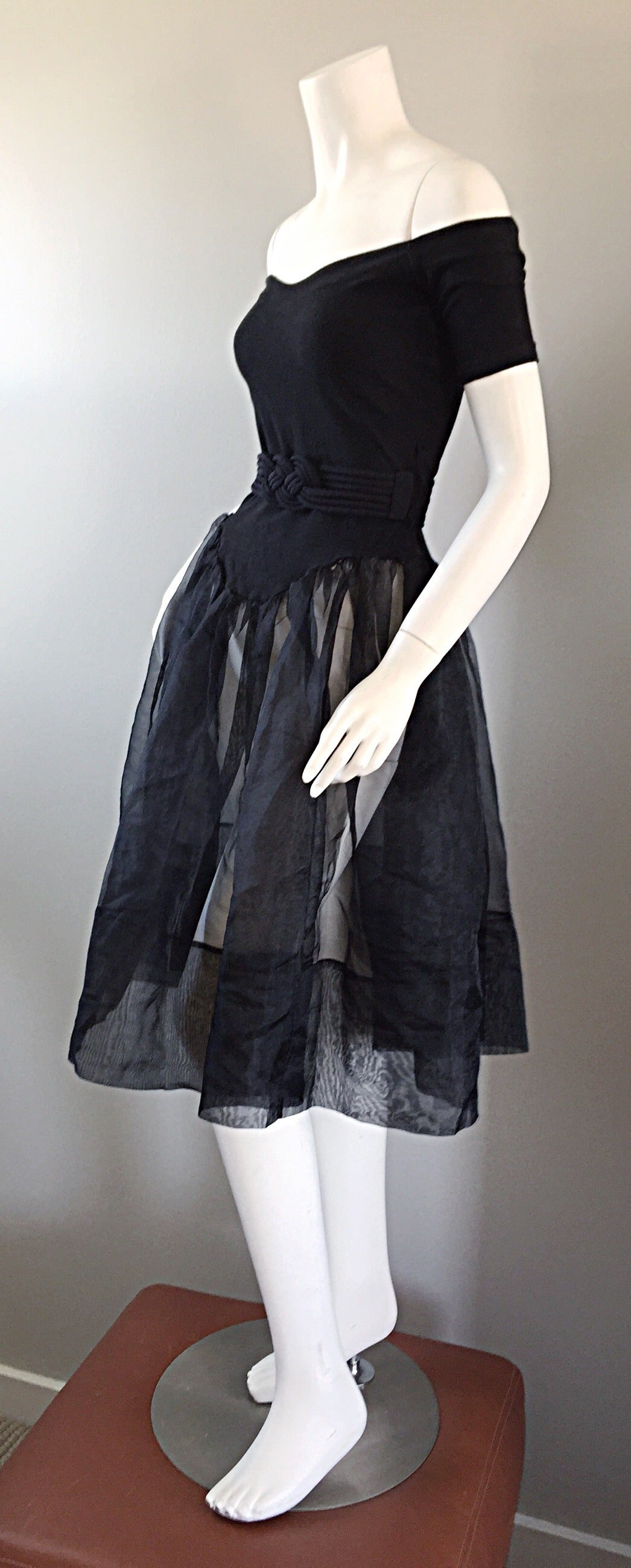 Rare Early Vintage Betsey Johnson Punk Label Black ' Ballerina ' Dress + Belt 5