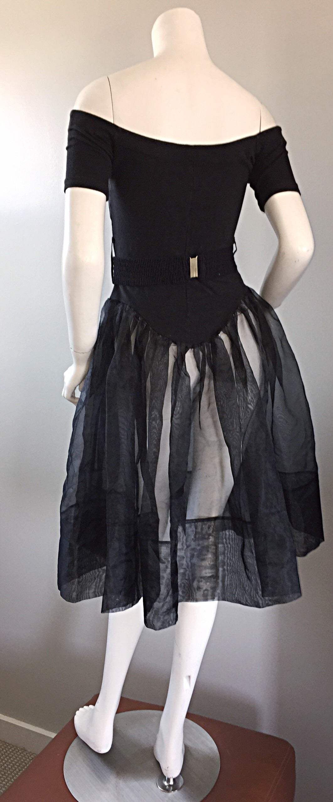 Rare Early Vintage Betsey Johnson Punk Label Black ' Ballerina ' Dress + Belt 6