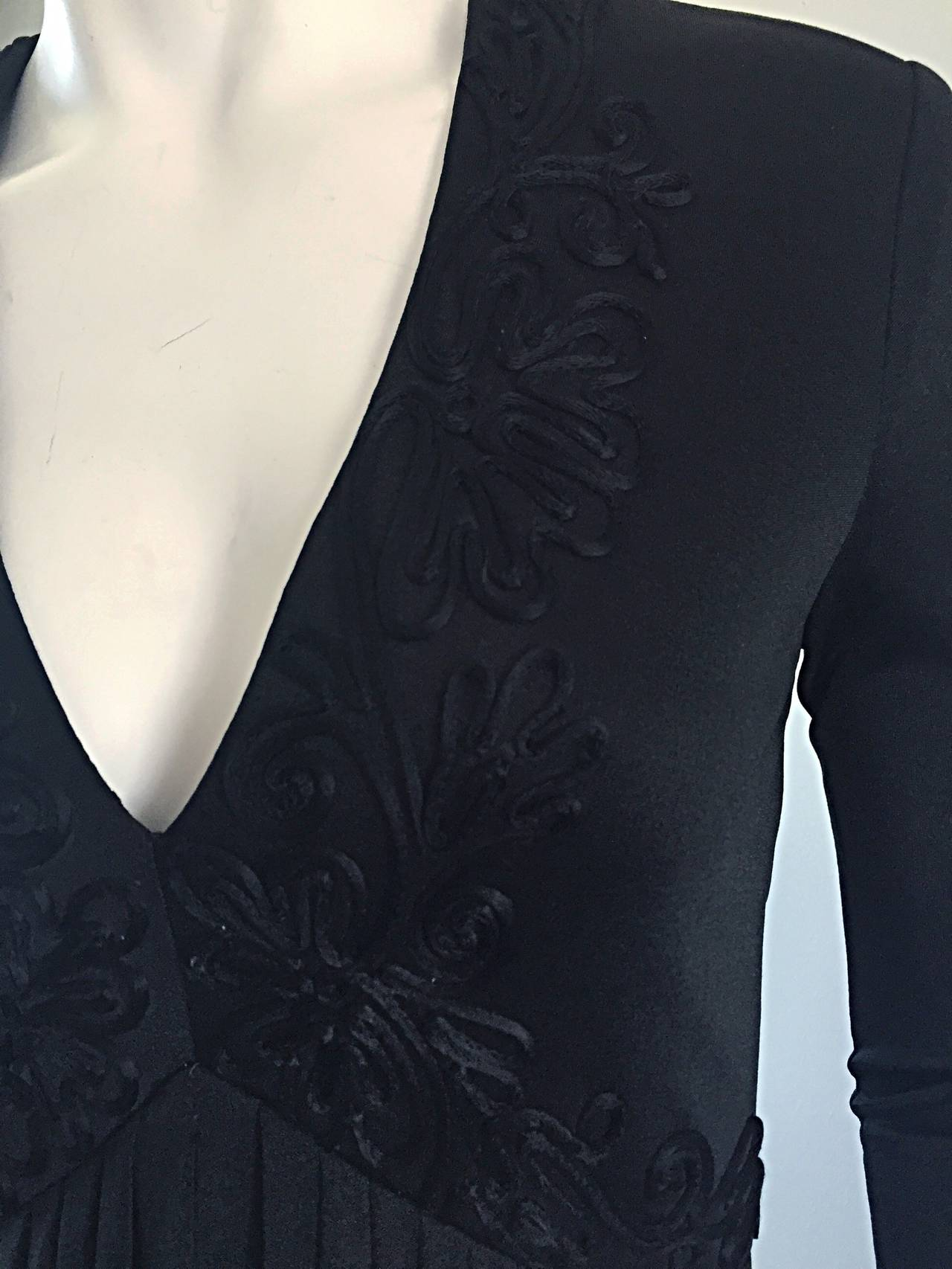 Vintage Jack Bryan Black Jersey Maxi Dress w/ Intricate Embroidery 1970s 70s 3