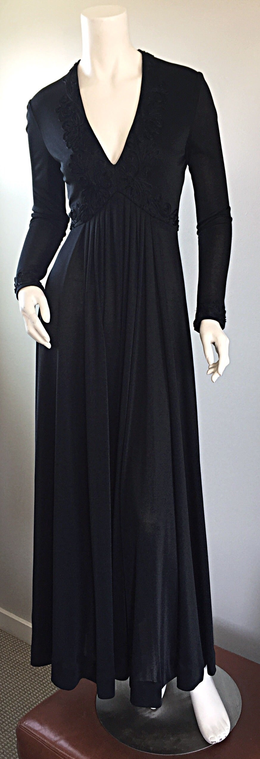 Vintage Jack Bryan Black Jersey Maxi Dress w/ Intricate Embroidery 1970s 70s 4